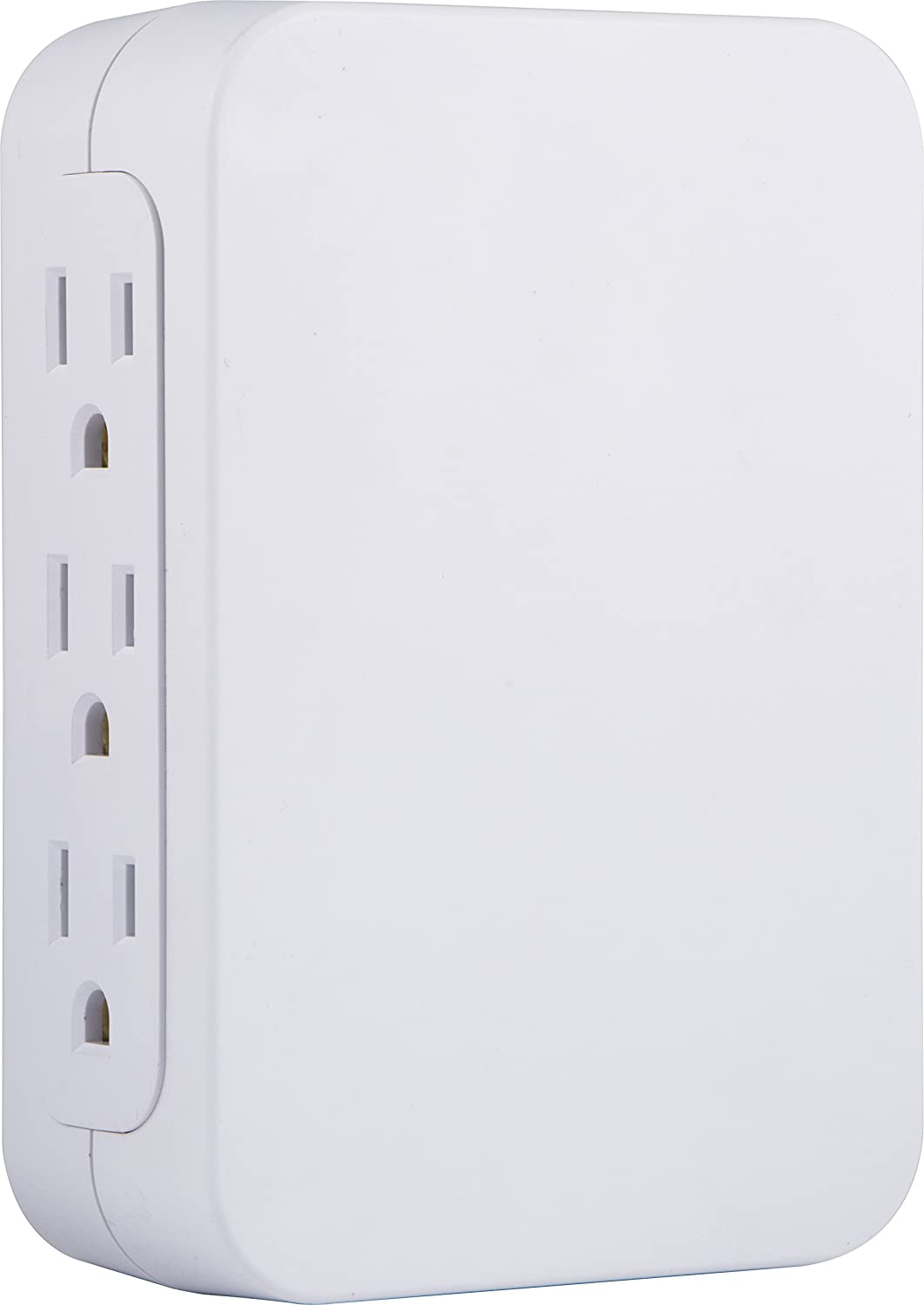 GE Pro 6 Outlet Wall Tap Surge Protector, Side Access, Power Outlet Adapter, 3 Prong Wall Mount, Plug In Outlet Extender, 1200 Joules, Warranty, UL Listed, White, 10353