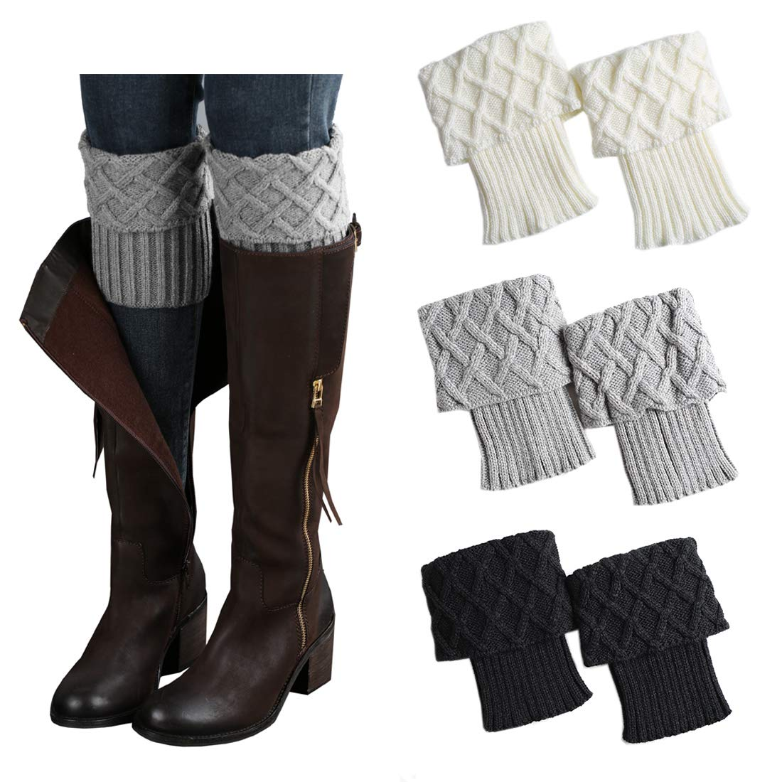 a0bacaeaae5 3 Pairs Women Boot Cuffs Leg Warmers Crochet Short Knitted Socks Warm  Toppers Winter FAYBOX at Amazon Women s Clothing store