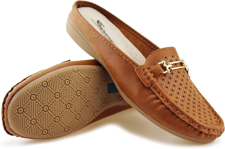 JABASIC Women Easy Slide Mule Moccasins Buckle Penny Slip-on Backless Loafer Shoes