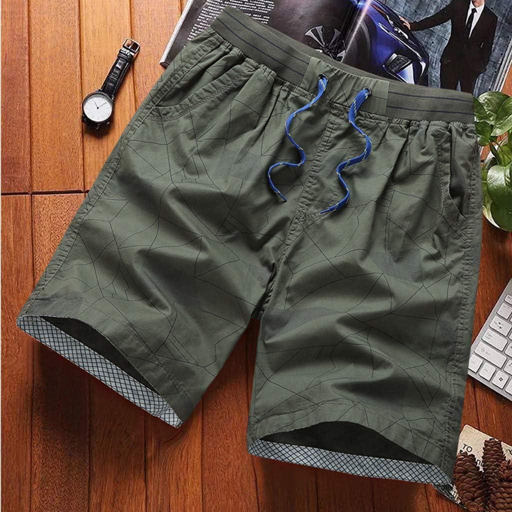 YAYUMI 2019 Fashion Mens Stripe Zip Pocket Elastic Cord Casual Cotton Sports Shorts Beach Pants