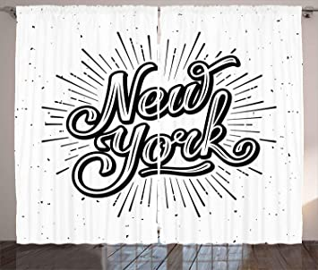 amazon ambesonne vintage curtains new york typography star Drapes 108 Length ambesonne vintage curtains new york typography star burst calligraphy hand written hipster lettering artwork