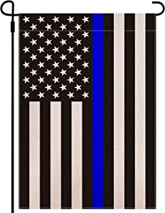 Double Sided Blue Line American Police Burlap Garden Flag-Premium Weather Resistant Outdoor Yard Lawn Decor - 12.5 x18.5 Inch- Black White and Blue Stripe - Honoring Law Enforcement Officers