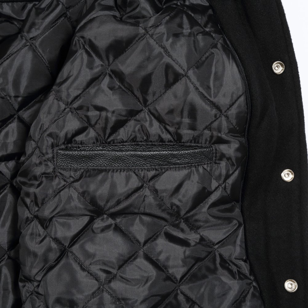 Varsity Letterman Jacket with Real Leather Sleeves//Solid Black