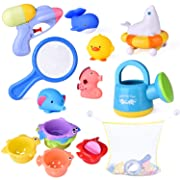 9 PCs Baby Bath Toys with Ocean Animals Bath Squirters Toys, Stacking Cups, Water Blaster Toys, Watering Can, Fishing Net and Bath Toy Organizer Birthday Gift for Kids