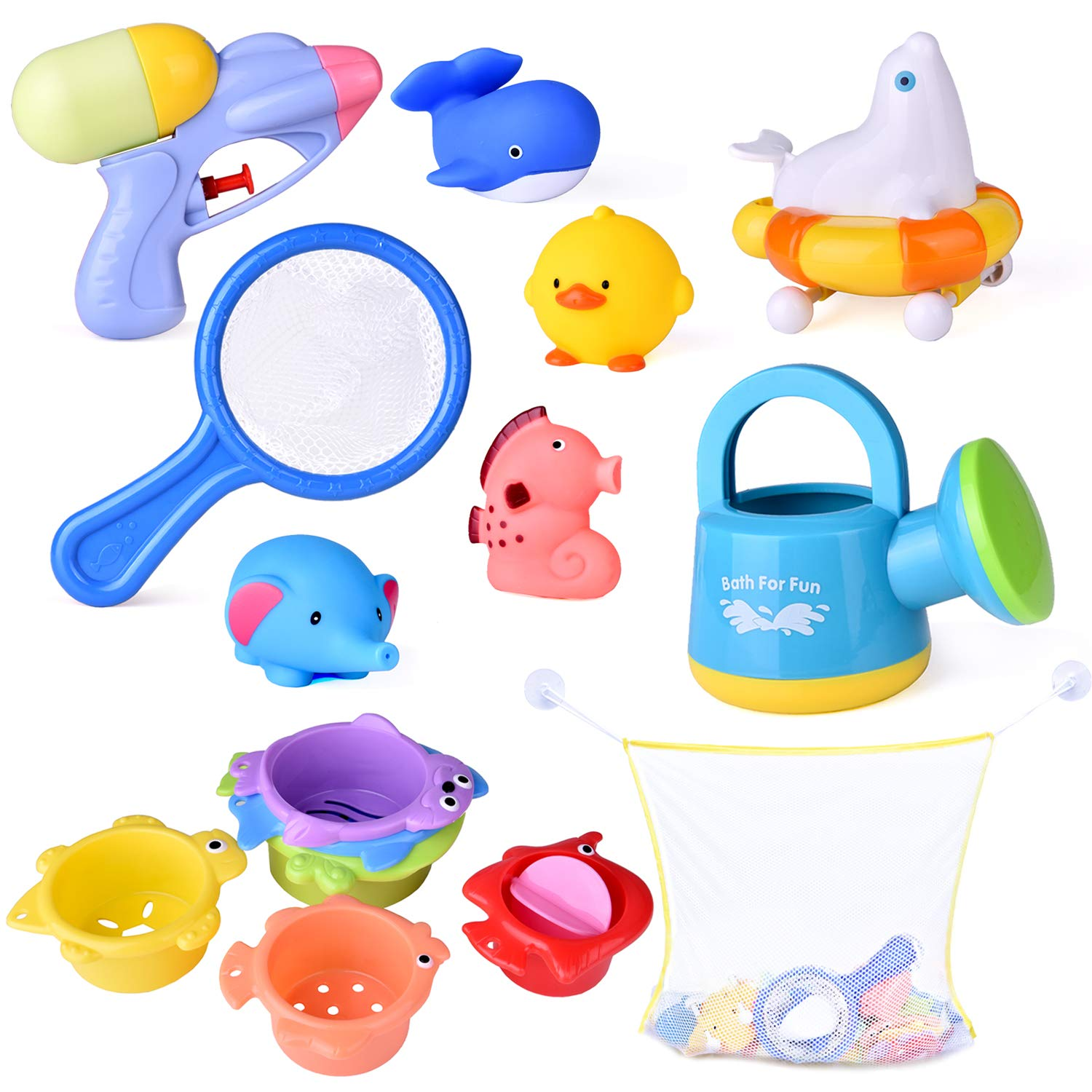 15 PCs Baby Bath Toys with Ocean Animals Bath Squirters Toys, Stacking Cups, Water Blaster Toys, Watering Can, Fishing Net and Bath Toy Organizer