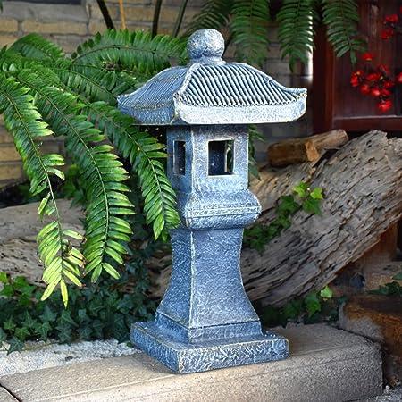 zenggp Pagoda Solar Japonesa Jardín Ornamento Pagoda Zen Linterna Buda Decoración Estatua,Grey+Height60.5cm: Amazon.es: Hogar