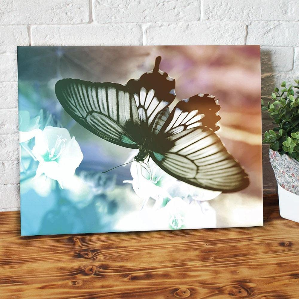 Butterfly Flowers Wood Frame Canvas 0.75 inch Art gifts for Christmas, Birthday, Valentine's Day Thanksgiving Canvas Home Decor (36 in x 24 in)