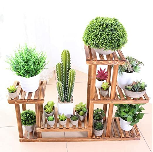 Aiilai - Estante de flores de madera maciza, marco de flores, estante para plantas, protección del medio ambiente, anticorrosión, soporte de flores, estante para oficina, flores, patio, jardín, pergolas: Amazon.es: Jardín