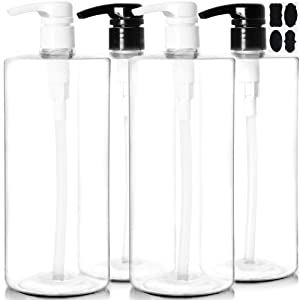 Youngever 4 Pack Pump Bottles for Shampoo 32 Ounce (1 Liter), Empty Shampoo Pump Bottles, Plastic Cylinder with Lockdown-Leak Proof-Pumps