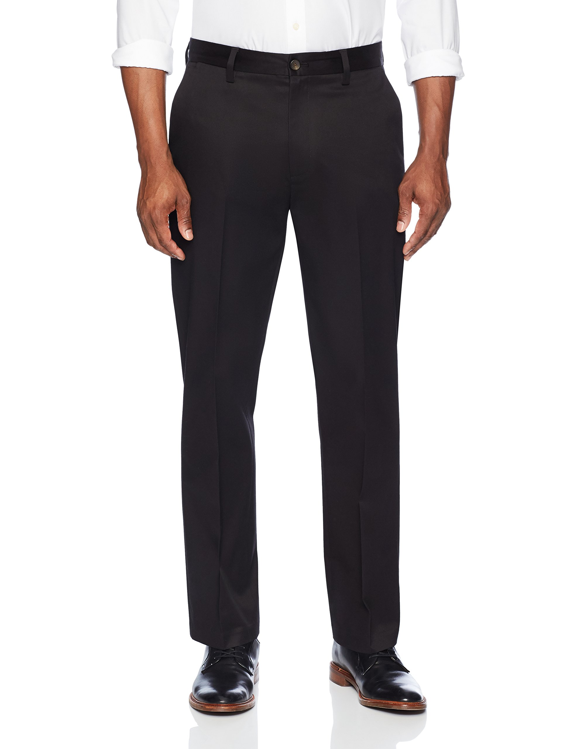 Buttoned Down Men's Relaxed Fit Flat Front Stretch Non-Iron Dress Chino Pant, Black, 36W x 32L