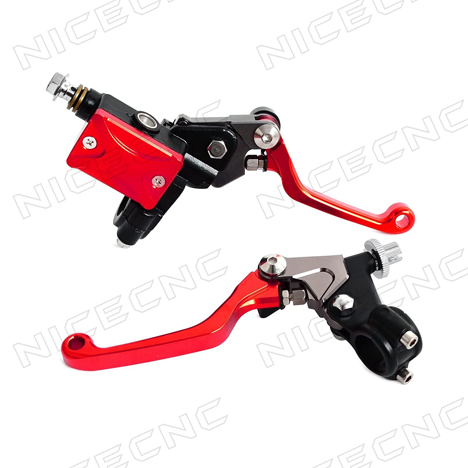 NICECNC Titanium 7/8'(22mm) Universal Motorcycle Hydraulic Brake & Cable Clutch Lever Set Assembly with CNC Brake Fluid Reservoir Cap for 125-450cc Dirt Bikes MX Motocross Enduro Enduro Off-road
