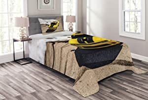 Ambesonne Manly Bedspread, Yellow Sports Car Drifting Photography Smoke Fast Speed Competition Picture, Decorative Quilted 2 Piece Coverlet Set with Pillow Sham, Twin Size, Yellow