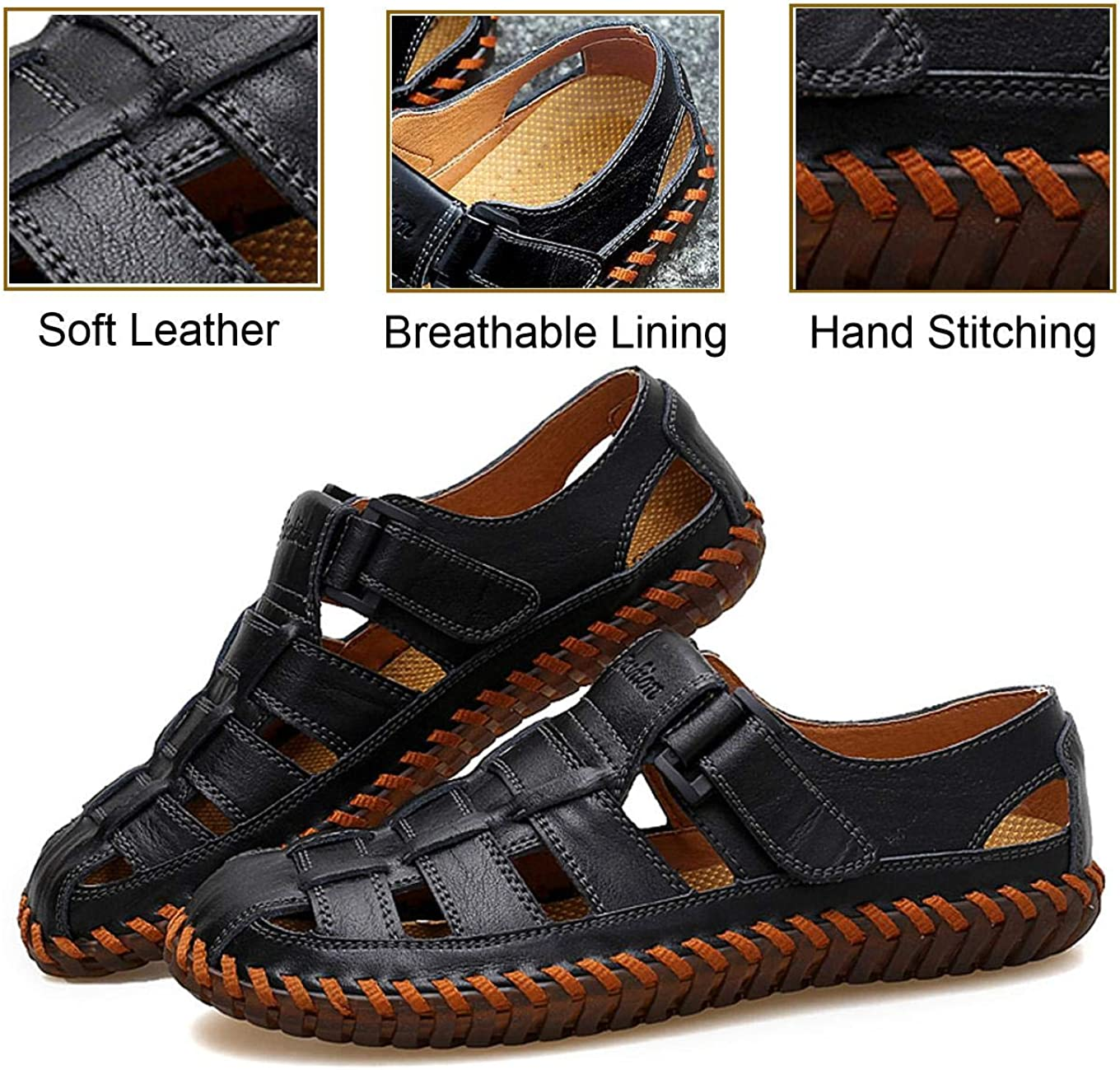 Jun Mens Sport Sandals Breathable Outdoor Fisherman Shoes Adjustable Closed Toe Summer Leather Loafters Color : Black, Size : 10.5 M US