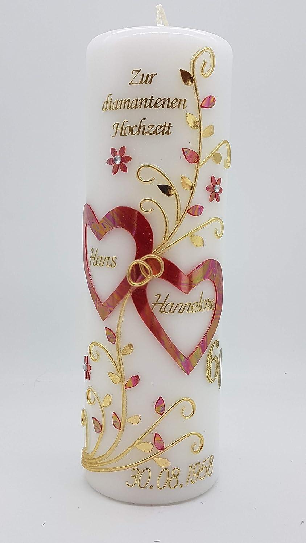 Hochzeitskerze Diamantene Hochzeit Dh 22 In Vers Farben Mit Namen