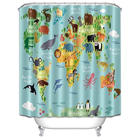 LB Waterproof Mildew Resistant Fabric Digital Printed Shower Curtains Various Animals On The World Map