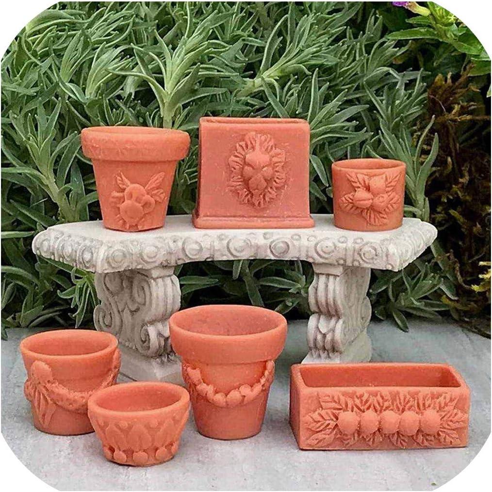7Pcs//Set 1:12 miniature resin landscape flower pot dollhouse garden for kidsDIU