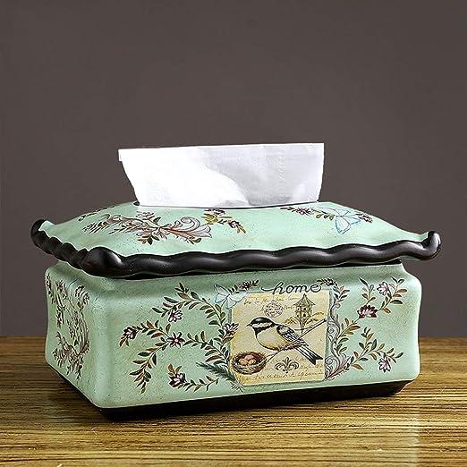 ZHJDD Caja de pañuelos de cerámica, Mesa Pintada patrón decoración ...