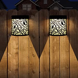 Solar Wall Lights Outdoor, Garden Decorative Fence Post Lights for Patio, Pathway, Pool, Backyard, Black Birds, 2 Modes, 2 Pack