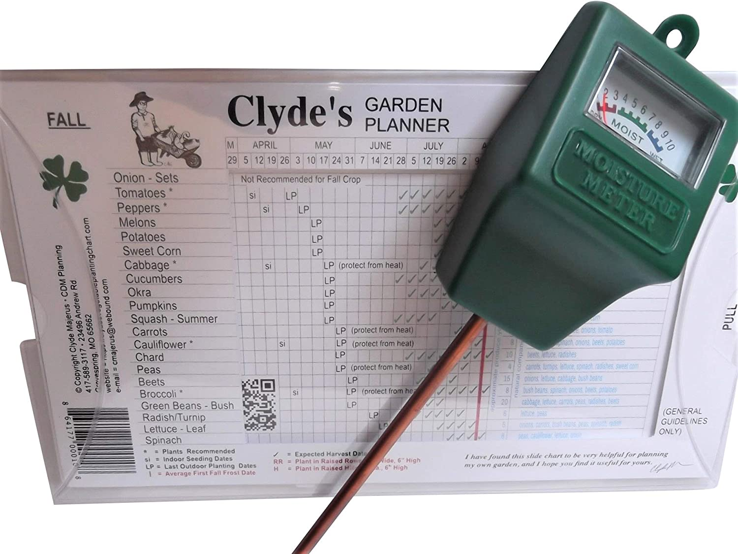 Clydes Garden Planner w/Clear Protective Cover and Moisture Meter Set