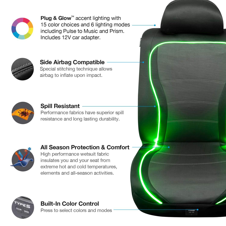 or Van Truck Type S Plug /& Glow SC56809-6 Universal Waterproof LED Glow Front Cover Neoprene Water Resistant Bucket Seat Airbag Fit Most Car SUV