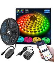 MINGER DreamColor LED Strip Lights Built-in IC, 16.4ft/5m LED Lights Sync to Music, Waterproof RGB Rope Light APP, 150 LEDs SMD 5050 Flexible Strip Lighting, LED Tape Lights, DC 12V UL Listed