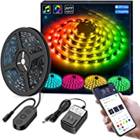 MINGER DreamColor LED Strip Lights Built-in IC, 16.4ft/5m LED Lights Sync to Music, Waterproof RGB Rope Light APP, 150 LEDs SMD 5050 Flexible Strip Lighting, LED Tape Lights, DC 12V UL Listed