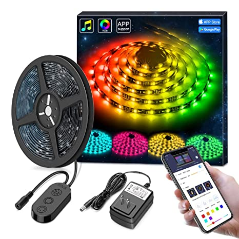 info for 4e772 eb1d7 MINGER DreamColor LED Strip Lights, Smart Music Sync Light Strip Phone App  Controlled Waterproof for Party, Room, Bedroom, TV, Gaming with Brighter ...