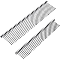 Cafhelp 2 Pack Dog Combs with Rounded Ends Stainless Steel Teeth, Cat Comb for Removing Tangles and Knots, Professional…