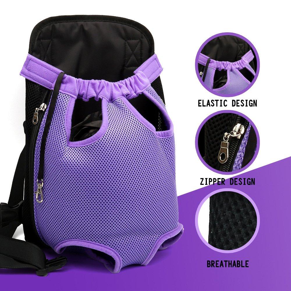 Pesp Adjustable Pet Dog Breathable Cotton Mesh Carrier Front Backpack Travel Bag, Pet Dog Legs Out Front Carrier Bag