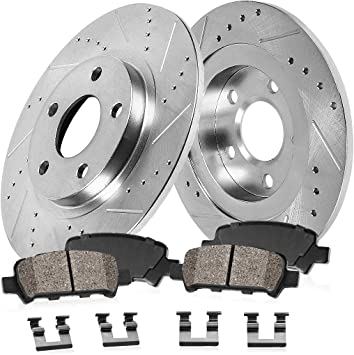 FRONT /& REAR Drilled Slotted Brake Rotors /& Ceramic Pads For 2010-2013 Genesis