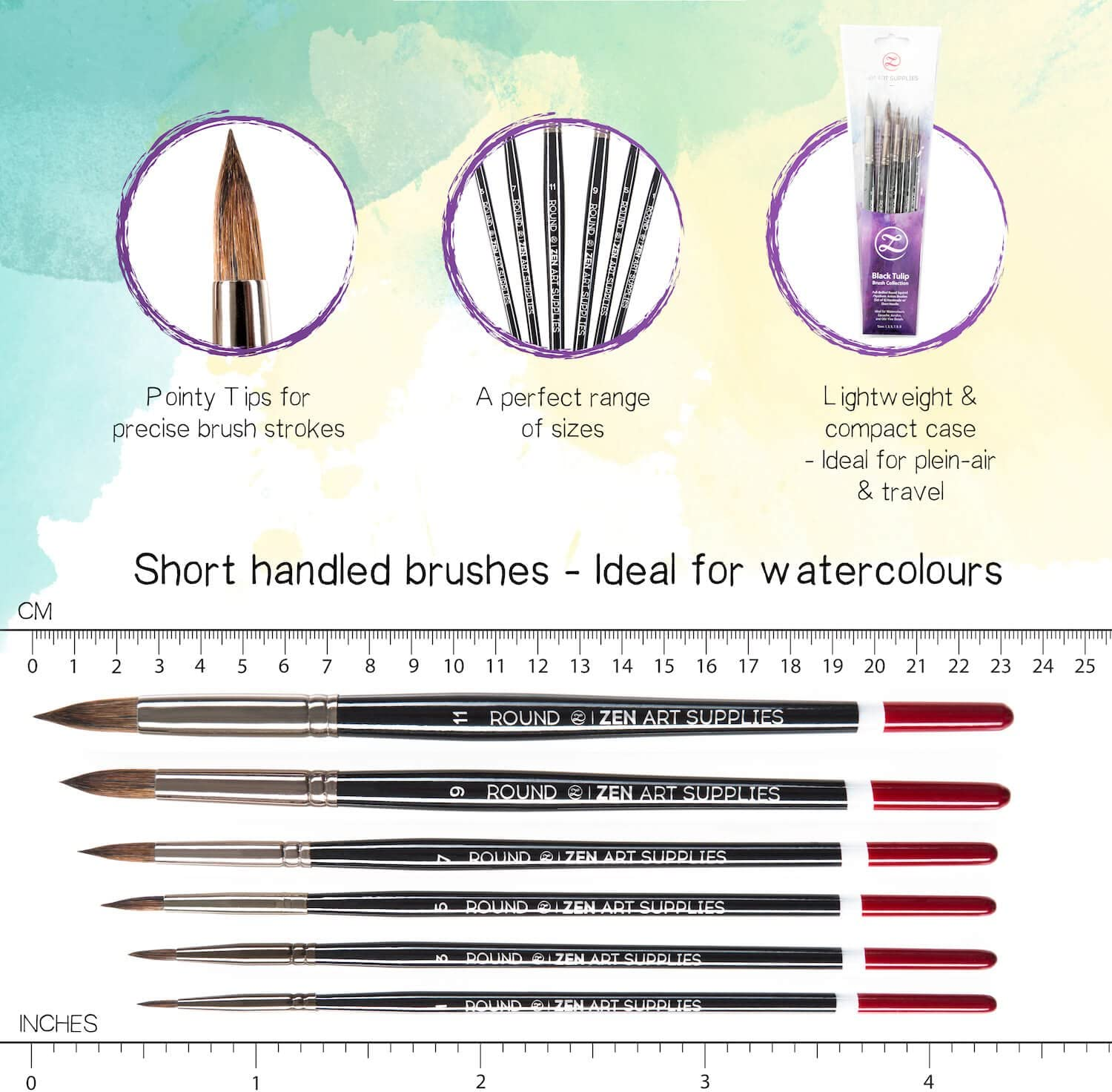 Long-Lasting Squirrel and Synthetic Blend 6-pcs Set Watercolours Fluid Acrylics and Inks Short Handle Professional Watercolour Brushes for Gouache Round Black Tulip Coll by ZenArt Pointed