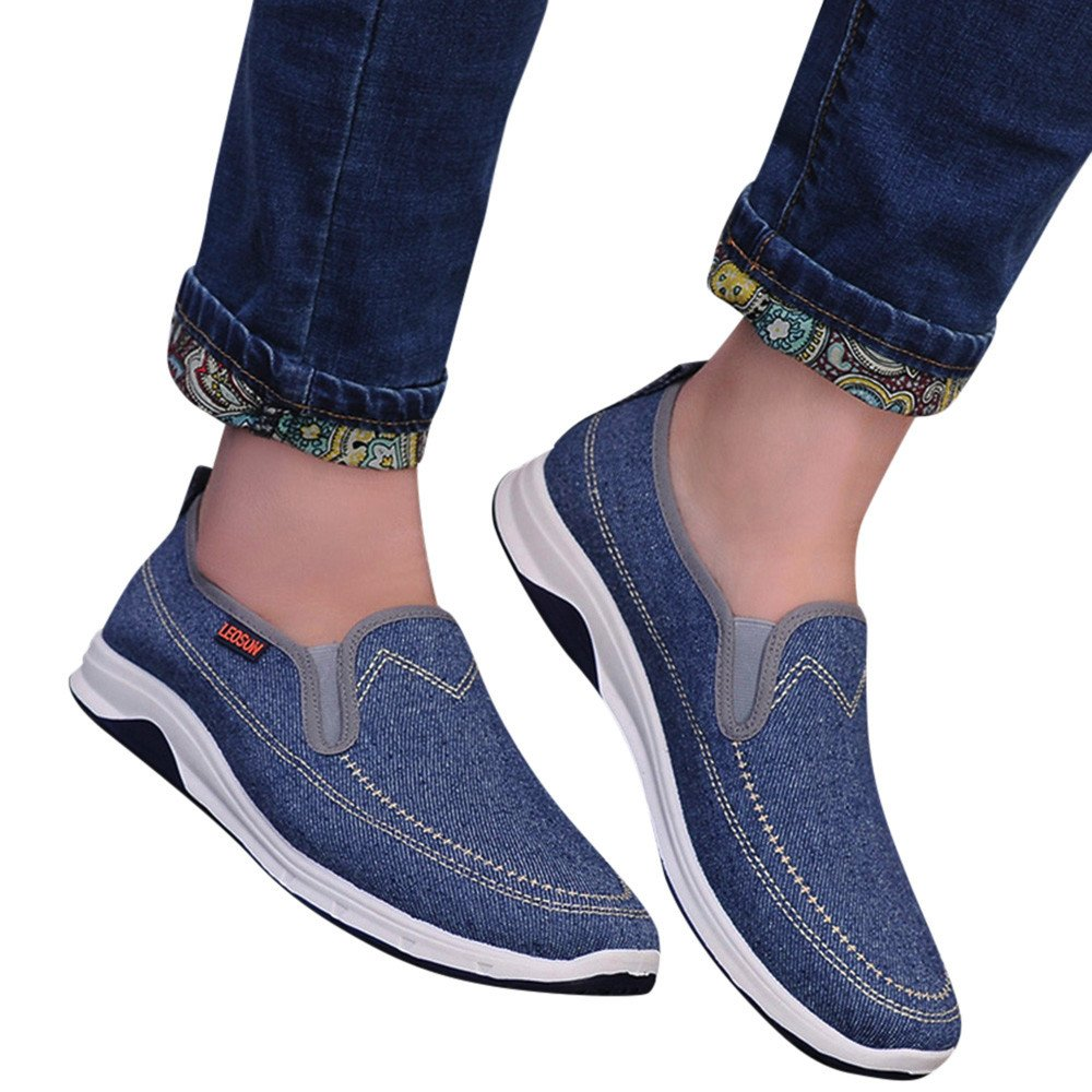 SCHOLIEBEN Men Boys Casual Sneakers Sports Denim Breathable Flat Solid Slip-On Shoes
