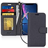 FYY iPhone Xr Cases,Hamdmade Flip Folio Leather Wallet Case with [Wrist Strap] [Kickstand Feature] [Card Slots] [Magnetic Closure] Protective Phone Cases iPhone Xr Cover Black