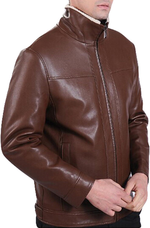 Winter Mens Fashion Business Plus Velvet Fur Leather Jacket