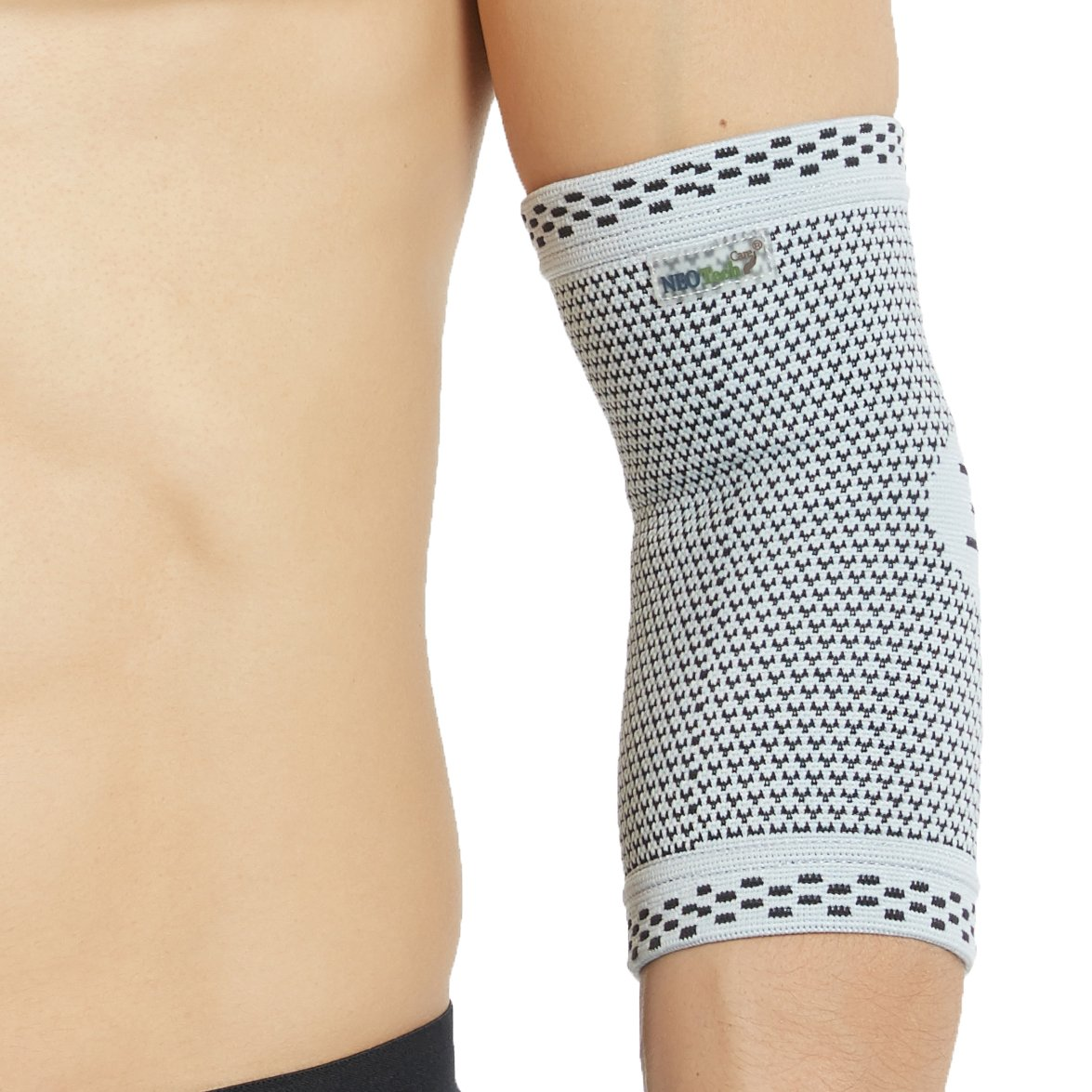 Neotech Care Elbow Support Sleeve - Bamboo Fiber 3D Weaving Knitted Fabric - Elastic & Breathable - for Golf, Tennis, Sports - Right or Left Arm - Grey Color (Large Size)