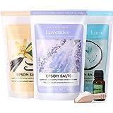 Spa Luxetique Premium Epsom Salt Bath Salt Soaking 3 x 454g(16oz), Lavender, Vanilla, Coconut Lime Nourishing Bath Salt with