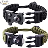 Paracord Survival Bracelet 500 LB - Hiking Gear Travelling Camping Gear Kit - 12-in-1 Parachute Rope Bracelet,Flint,Fire Sticks,Compass Stone,Thermometer,Survival Knife,Whistle By RNS STAR