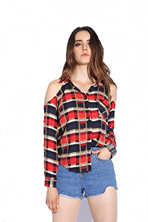 a1299ad01aeec POISON IVY women s Checkered Long Sleeves Cold Shoulder Red-Black Shirt  (Z-ORANGE