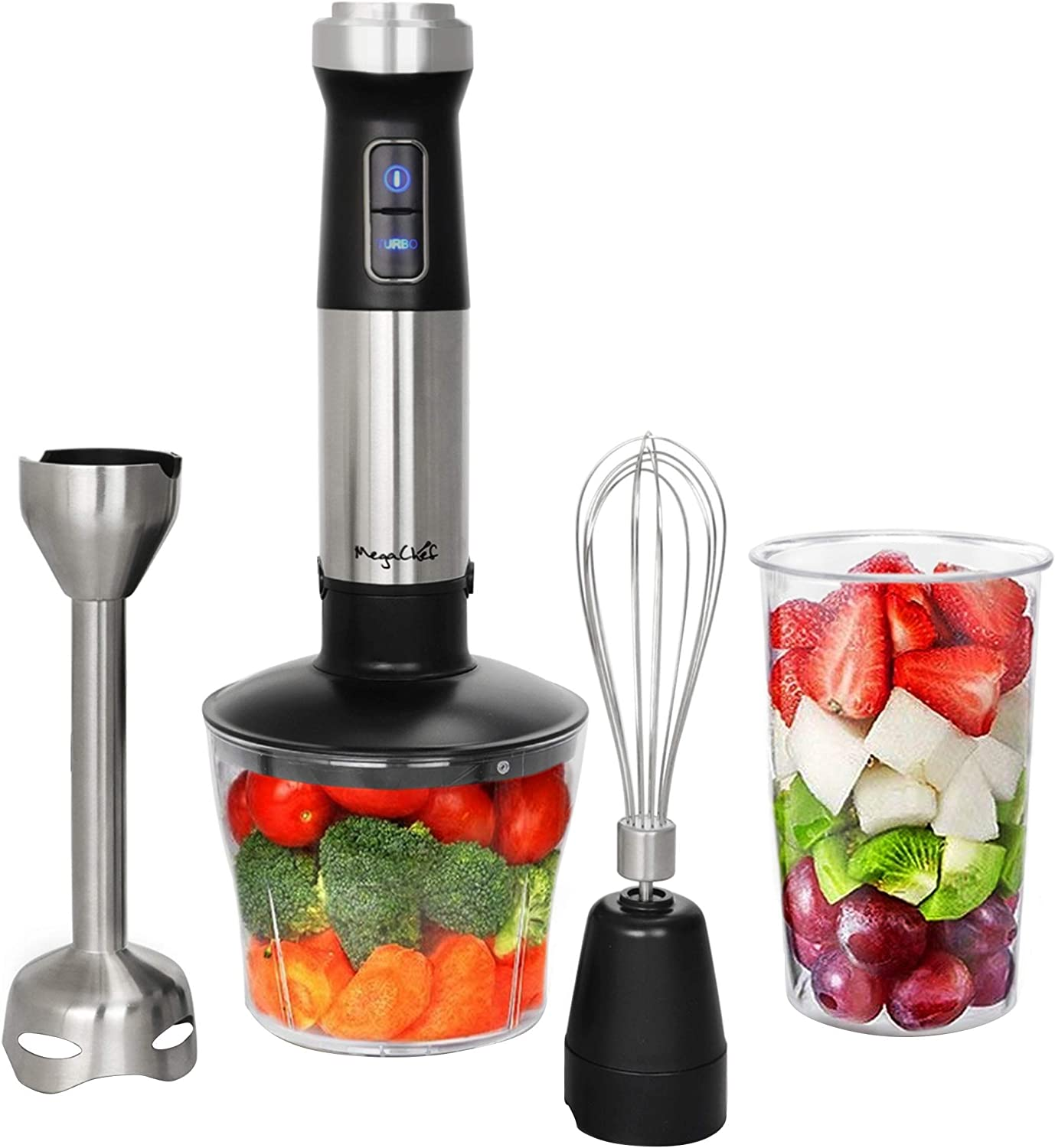 Unknown1 4 in 1 Hand Blender with Multi-use Accessories Black Stainless Steel Dishwasher Safe Parts