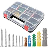HongWay 370pcs Plastic Drywall Wall Anchors Kit with Screws, Includes 5 Different Size Anchors and Screws