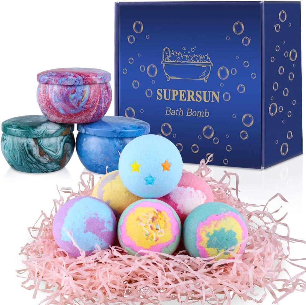 SUPERSUN Bombas de Baño 6 x 100 g con 3 Velas Aromáticas, Set de Baño Regalos para Mujer, Sales de Baño, Regalos para Cumpleaños, Aniversario, Día de San Valentín, Día de la Madre