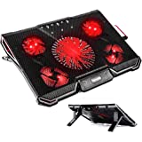"""TechVibe Laptop Cooling Pad For 12""""-17"""" Laptops, Gaming Cooling Pad, 5 Quiet Fans, LED Lights, and 2 USB 2.0 Ports, Adjustable Stand Mount, 2017 Model"""