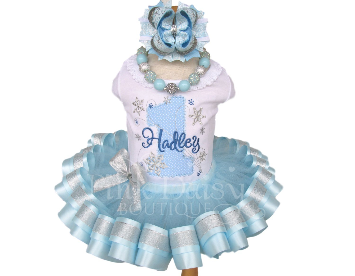 Light Blue and Silver Snowflake Birthday Outfit with Personalized Shirt and Ribbon Trim Tutu