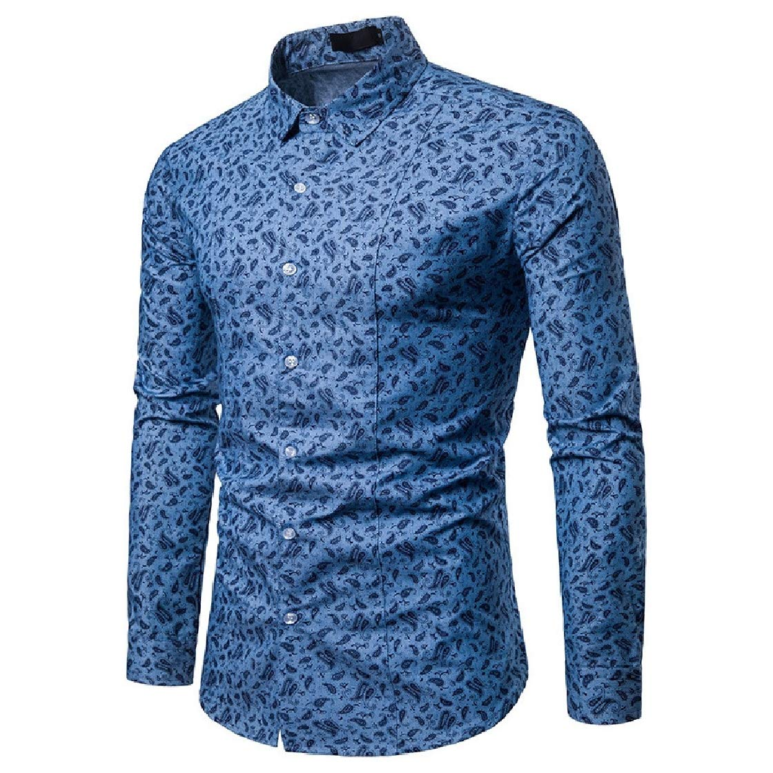 YUNY Mens Floral Long-Sleeve Plus-Size Trim-Fit Casual Autumn Western Shirt Light Blue M