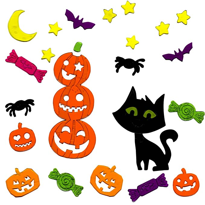 Gel Charms Halloween Window Clings Black Cat and Pumpkins