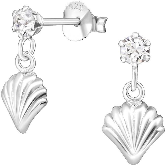 EYS Women's Earrings 925Sterling Silver Jewelry Jakobs Shell White 14* 7mm Swarovski Elements Crystal Earrings 7sI5DheGpL