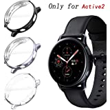 KPYJA for Samsung Galaxy Watch Active 2 44mm Screen Protector, All-Around TPU Anti-Scratch Flexible Case Soft Protective Bumper Cover for Galaxy Watch Active 2 Smartwatch (Black/Gray/Clear, 44mm)