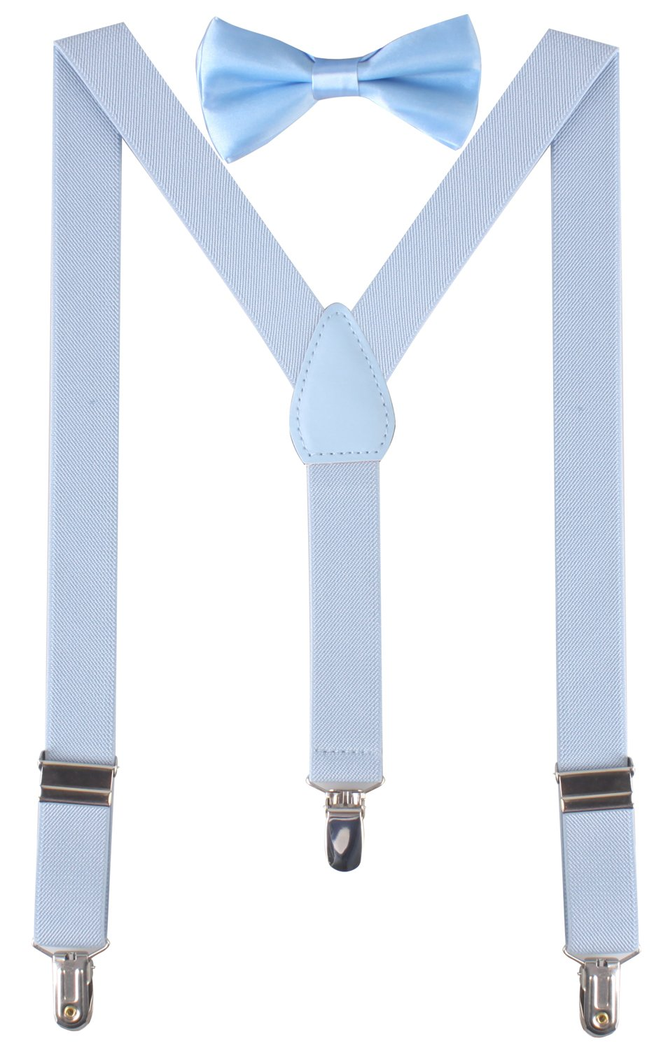 BODY STRENTH Boys' Bow Tie and Suspenders Set Classic Y Shape Light Blue