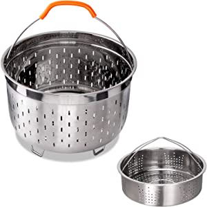bigsnowball Stainless Steel Steamer Basket Compatible with Instant Pot Accessories 6QT 8QT Steam Insert Including Handles and Feet, 6quart 8quart, silver