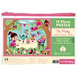 "Mudpuppy Tea Party Pouch Puzzle for Ages 2 to 4 – 12-Piece Puzzle Features Fun Drawings with Puzzle Measuring 11"" x 14"""
